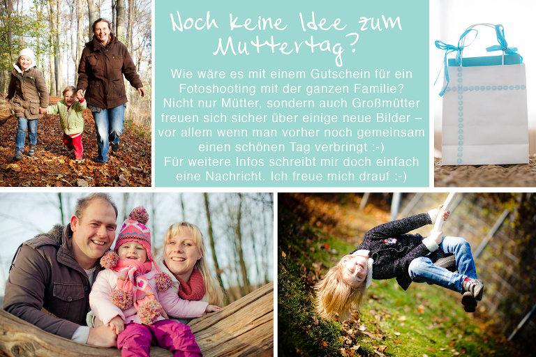 Idee für ein Muttertagsgeschenk: Wie wäre es zum Muttertag mit einem Familienshooting mit der ganzen Familie, zum Beispiel in der Region Hannover.