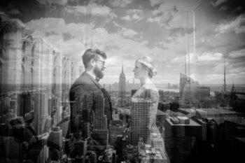 Hochzeitsfotos auf dem Rockefeller Center in New York Elopement